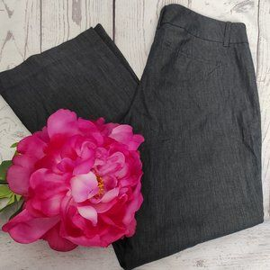 Loft Dark Wash Denim Button Tab Trouser Pants Blue